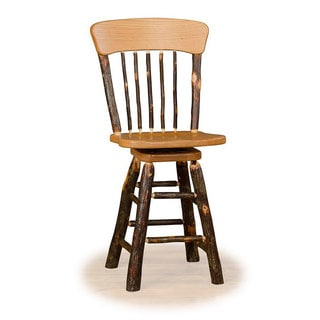 Rustic 30 Inch Wagon Wheel Swivel Bar Stool - Hickory & Oak or All Hickory