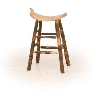 Rustic 24 Inch Counter Western Saddle Stool - Hickory & Oak or All Hickory