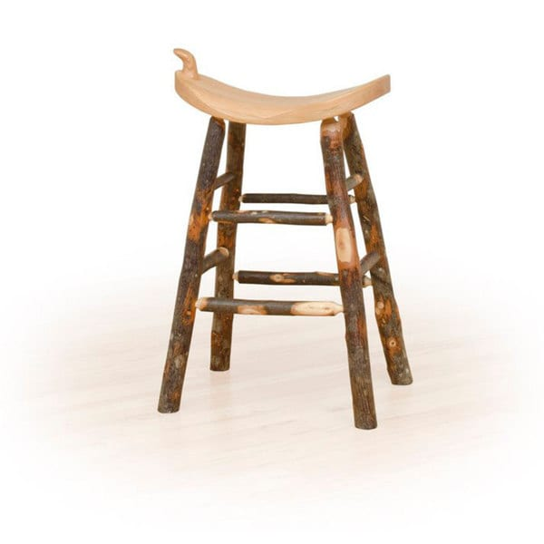 Rustic 24 Inch Counter Western Saddle Stool Hickory