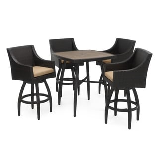 RST Brands Deco Maxim Beige Aluminum/Wicker/Fabric 5-piece Barstool and Table Set