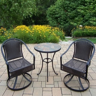 Hometown 3 Piece Bistro Set with table and Sedona Wicker Swivel Chairs
