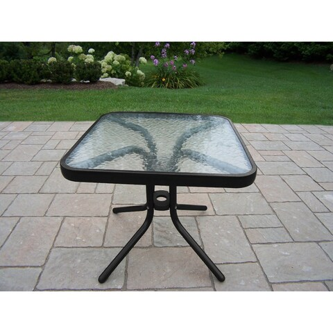 Carson Black Tempered Glass/ Metal/ Aluminum 20-inch Square Table