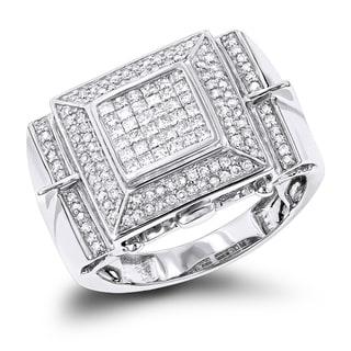 Luxurman 14k Gold Men's 1 1/4ct TDW Round- and Princess-cut Diamond Ring