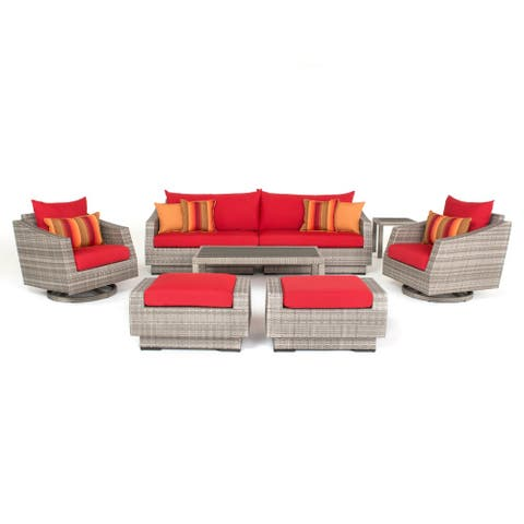 RST Brands Cannes Sunset Red 8-piece Sofa and Design Club Chair Set
