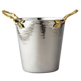 Heim Concept Gilt Leaf Champagne Bucket (Gold Finish Leaf/Hammered Steel)