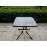 Oakland Living Carson Brown Tempered Glass 20-inch Square Table