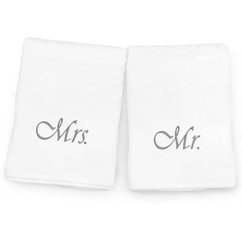 "Kaufman Terry Jacquard Towel, Ultra Absorbent, Premium Heavy Weight, 100% Cotton Bath Towel Set 35"" x 68"" with Mr. and Mrs."