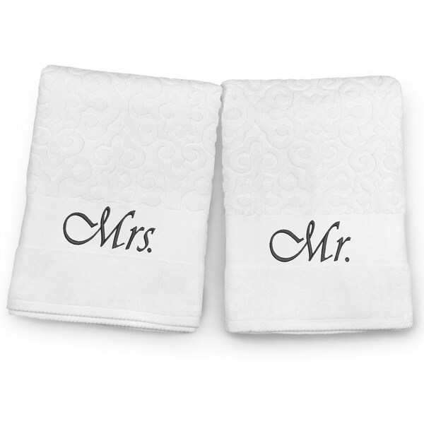 Mr. and Mrs. Embroidered Bath Towel Set