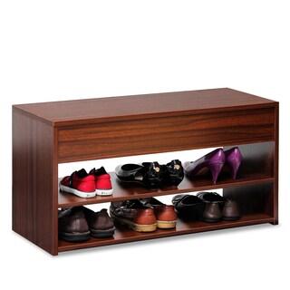 Furinno Walnut Wood Boyate Shoe Storage Hallway Bench