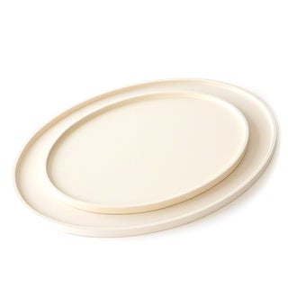 Ivory Wood Oval Drinks Tray