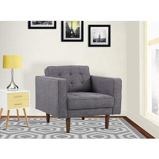 Armen Living Element Dark Grey Linen and Walnut Legs Mid-century Modern Chair