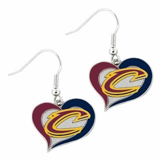 Aminco NBA Cleveland Cavaliers Sports Team Swirl Heart Dangle Earrings