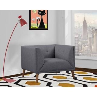 Armen Living Hudson Dark Grey/Beige Linen Upholstered Mid-century Button-tufted Chair with Walnut Wood Legs