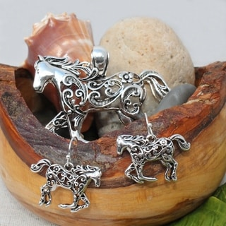 Hammered Metal Art Horse Necklace Choker Pendant and Earrings Jewelry Set