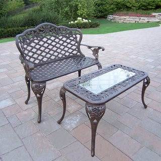 Camellia Cast Aluminum Loveseat Bench and Cocktail Table
