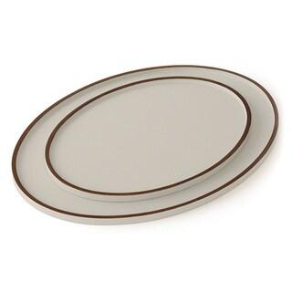 Elegant Haze Grey Wood Oval Drinks Tray