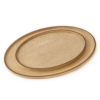 Elegant Bleached Walnut Wood and Bronze Felt Large Oval Drinks Tray