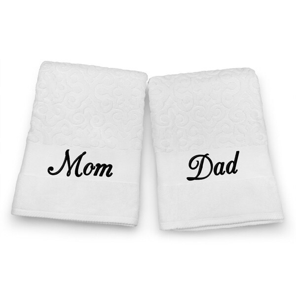 "Kaufman Terry Jacquard Towel, Ultra Absorbent, Premium Heavy Weight, 100% Cotton Bath Towel Set 35"" x 68"" with Mom & Dad"