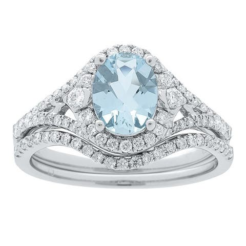 14k White Gold Aquamarine and 1/2ct TDW Diamond Bridal set Ring (G-H, I1-I2)