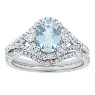 14k White Gold Aquamarine and 1/2ct TDW Diamond Ring (G-H, I1-I2)|https://ak1.ostkcdn.com/images/products/13211960/P19930980.jpg?impolicy=medium