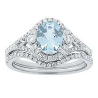 14k White Gold Aquamarine and 1/2ct TDW Diamond Bridal set Ring (G-H, I1-I2)