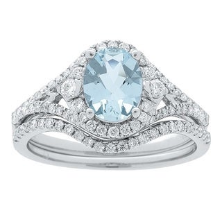 14k White Gold Aquamarine and 1/2ct TDW Diamond Ring (G-H, I1-I2)