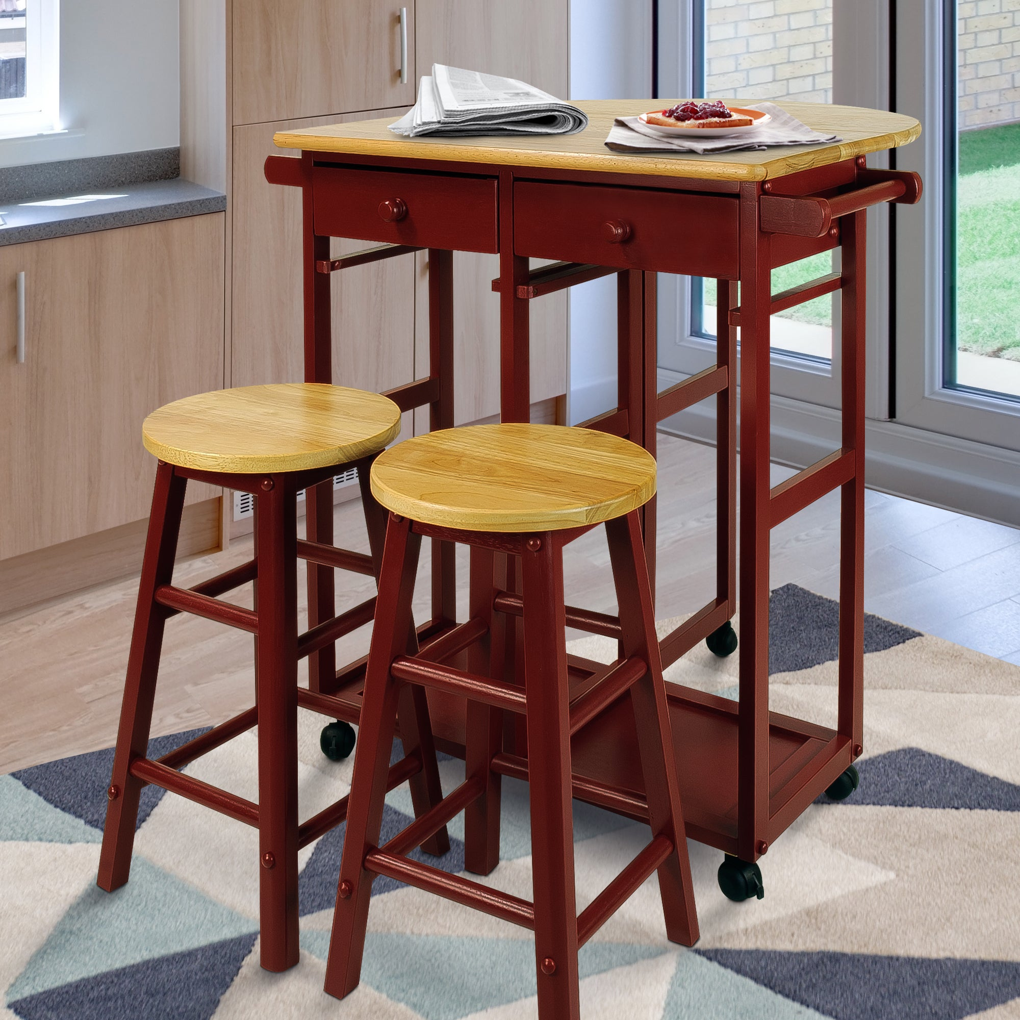 Kitchen Table And Chairs With Wheels: Drop Leaf Table Kitchen Breakfast Cart Dining Room Chairs