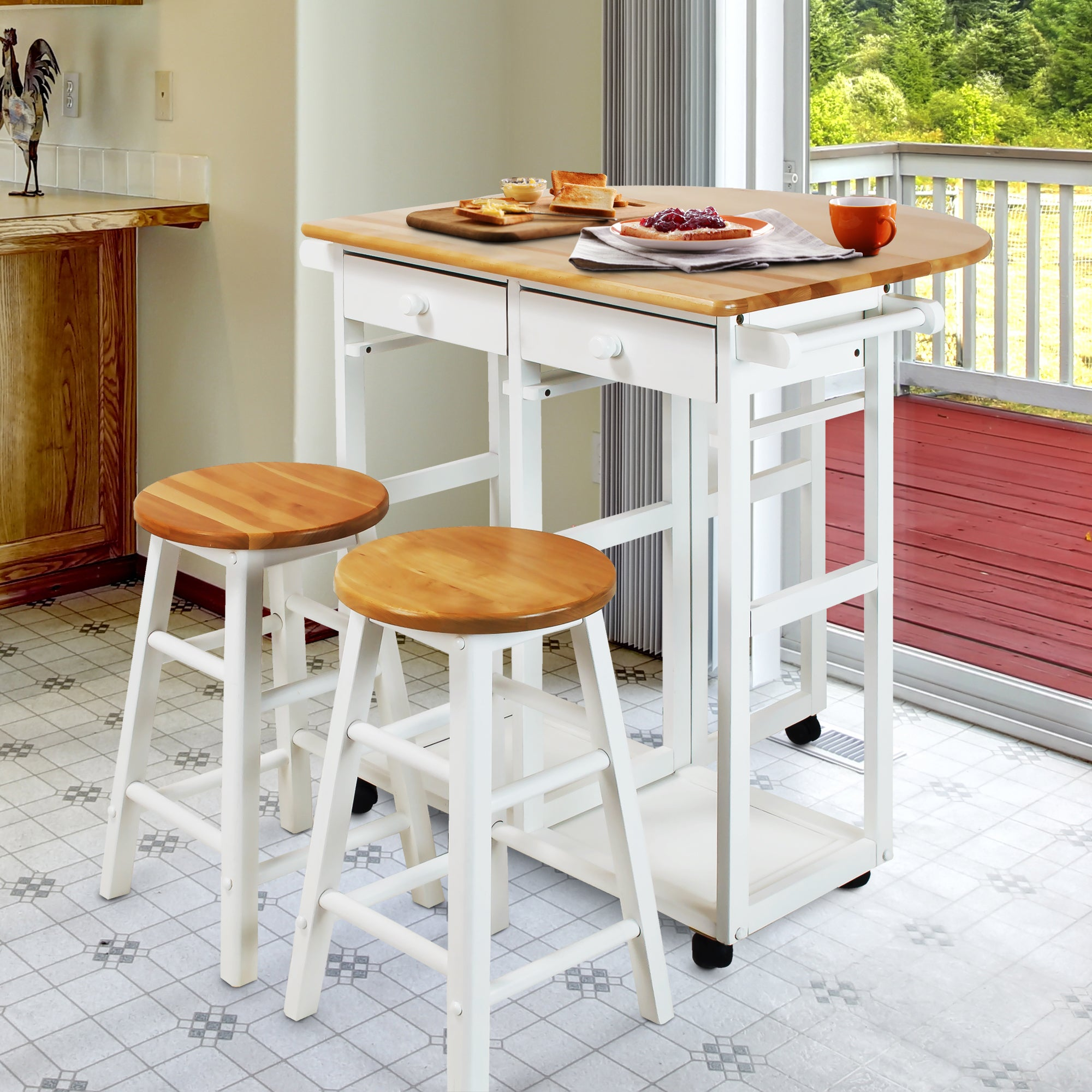 Arts And Crafts Breakfast Cart With Drop Leaf Table