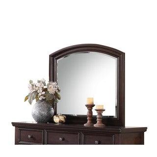 Acme Furniture Greyson Dark Walnut Pine Wood Beveled Mirror