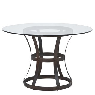 Armen Living Vancouver Round Dining Table with 4-inch Glass Top