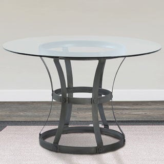 Armen Living Vancouver Round Dining Table with Metal Base and 4-inch Glass Top