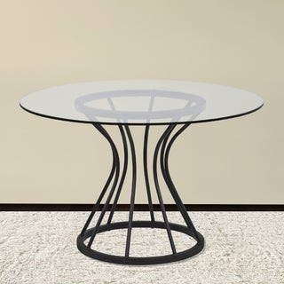 armen living zurich dining table in black finish and 48in glass top