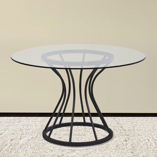 Armen Living Zurich Dining Table in Black Finish and 48in. Glass Top