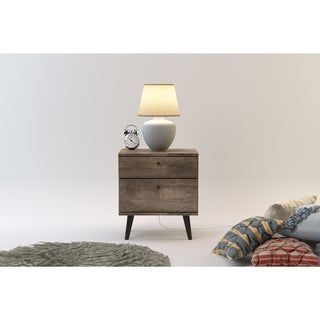 Midtown Concept Wood Mid-century 2-drawer Nightstand (Option: Beige)