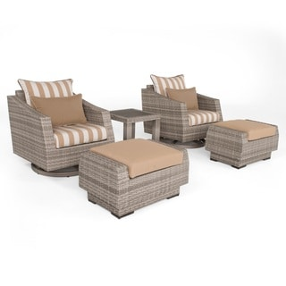 RST Brands Cannes Maxim Beige Sunbrella and Resin Wicker 5-piece Deluxe Club and Ottoman Set