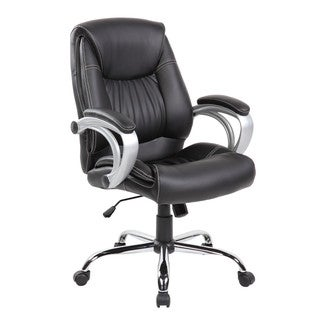 Executive Mid-back Office Task Chair With Thick Padded Back, Seat and Armrests