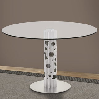 Armen Living Berlin Round Dining Table in Brushed Stainless Steel and 48-inch Glass Top