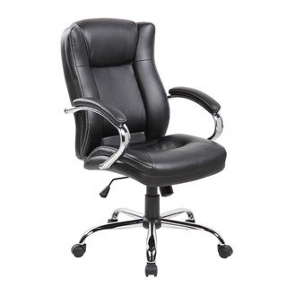 Executive Mid-back Black Faux Leather Office Chair