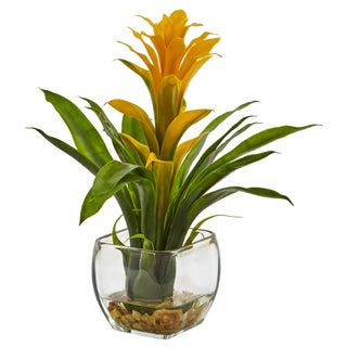 Nearly Natural Silk Bromeliad Arrangement with Glass Vase (Option: Yellow)
