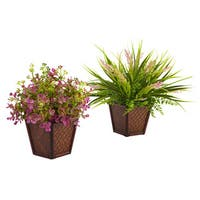 Nearly Natural Assorted Grass with Planter (Set of 2)
