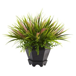Nearly Natural Green Silk Grass with Black Wooden Planter
