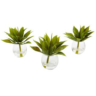 Nearly Natural Artifcial Agave Plant with Clear Glass Vase (Set of 3)