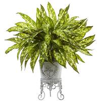Nearly Natural Faux Aglaonema With Metal Planter
