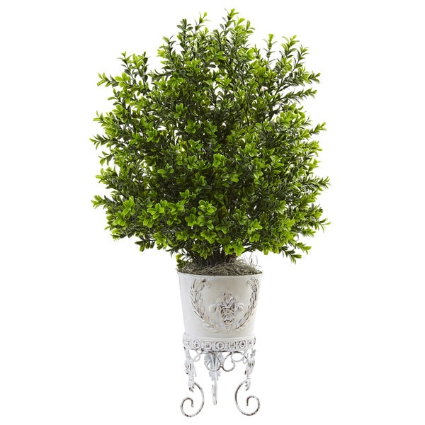 Nearly Natural Boxwood with Metal Planter