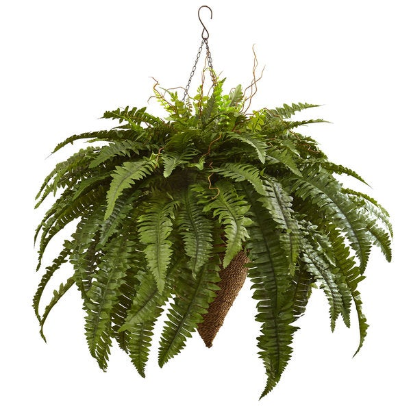 Nearly Natural Giant Boston Fern Hanging Basket. Opens flyout.