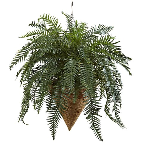 Nearly Natural Giant River Fern with Cone Hanging Basket - Green