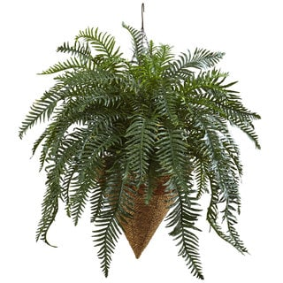 Link to Nearly Natural Giant River Fern with Cone Hanging Basket - Green Similar Items in Decorative Accessories