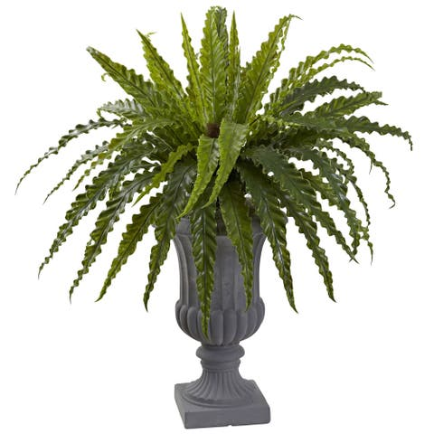 Nearly Natural Birdsnest Fern with Urn - Green