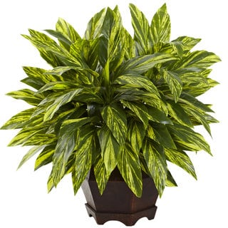 Nearly Natural Green Silk Tradescantia Plant with Black Hexagon Planter