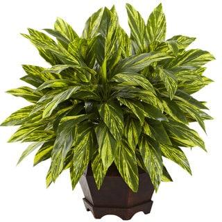 Nearly Natural Green Silk Tradescantia Plant with Black Hexagon Planter